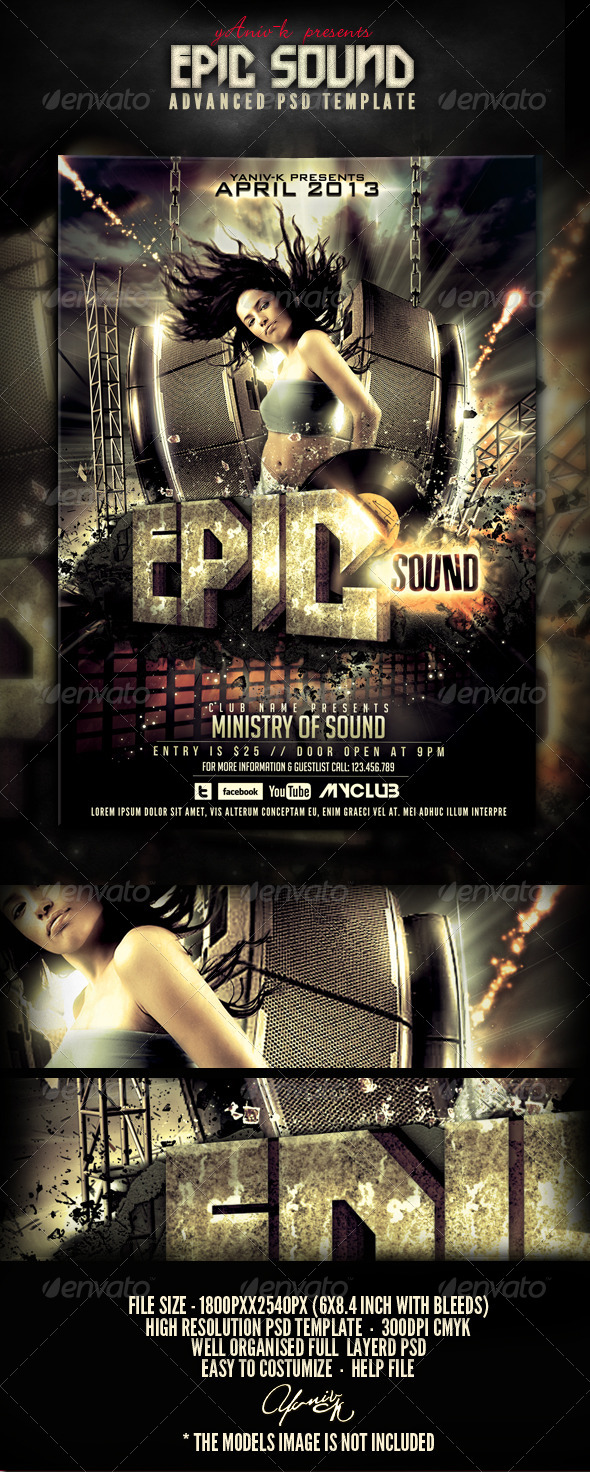 Epic Sound Flyer Template - Flyers Print Templates