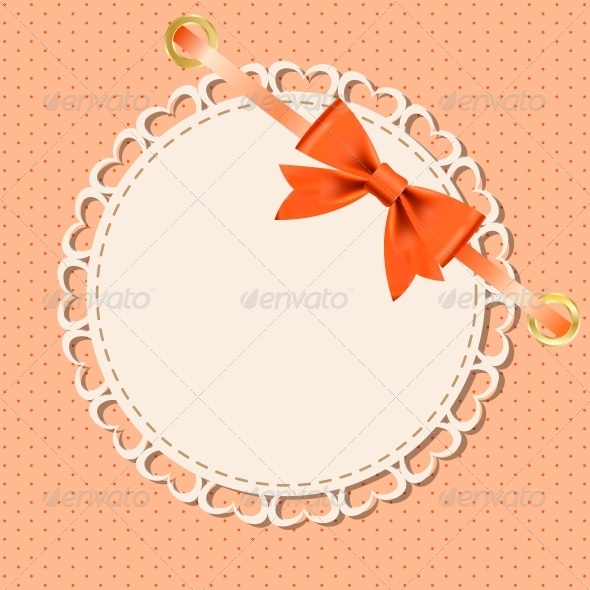 Vector Greeting Card with Frame and Bow - Abstract Conceptual