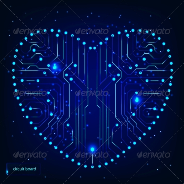 Circuit board with in heart shape pattern - Computers Technology
