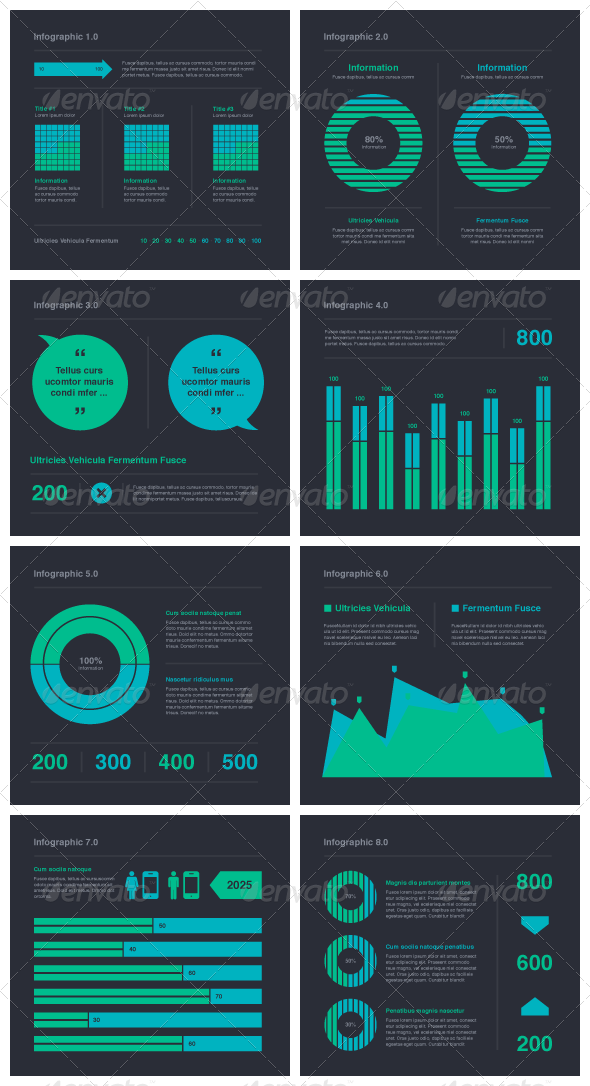 Blue Green Infographic Elements - Vector - Infographics