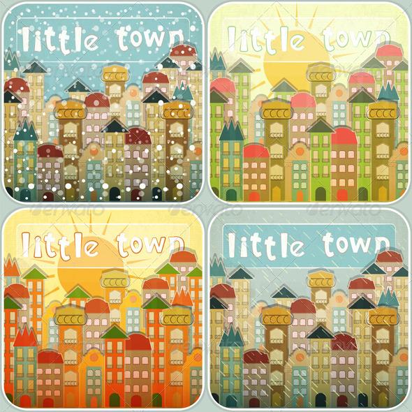 Little Town Seasons Set - Buildings Objects