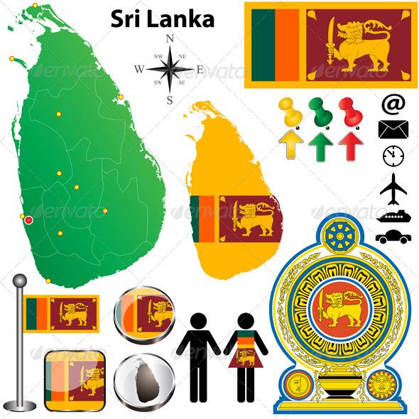 Sri Lanka Map - Travel Conceptual