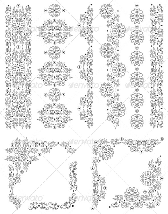 Set of Vector Borders with Floral Elements - Borders Decorative