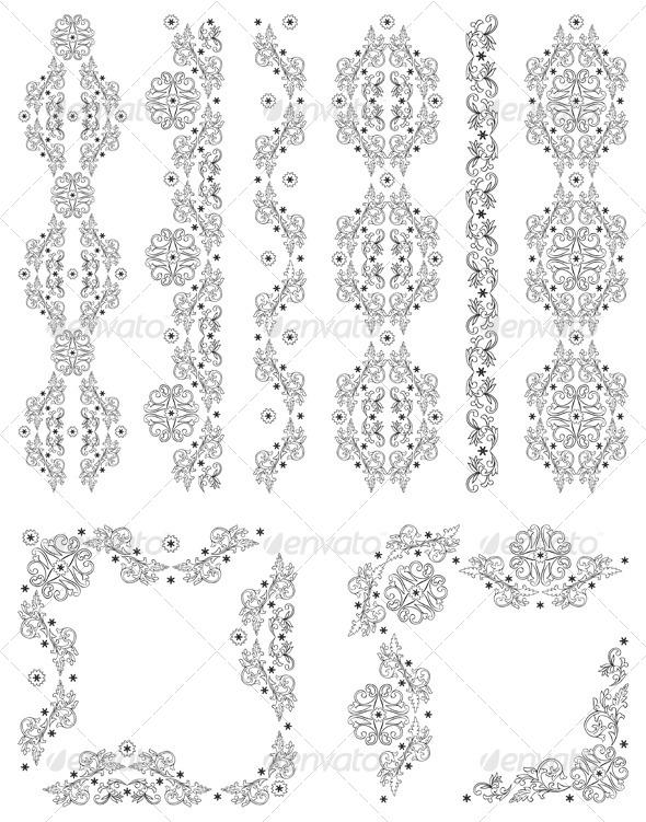 Set of Vector Borders, Decorative Floral Elements - Borders Decorative