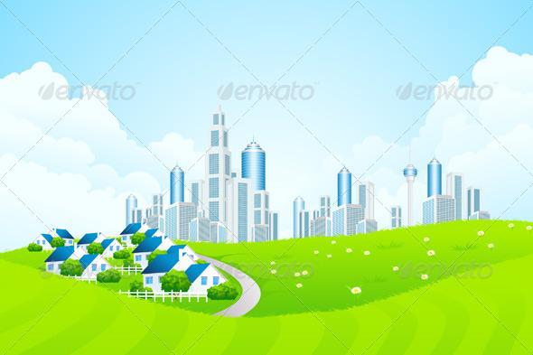 Green Landscape with City line and Cottage Village - Landscapes Nature