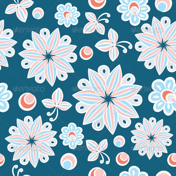 Seamless Floral Hand Drawn Background - Patterns Decorative