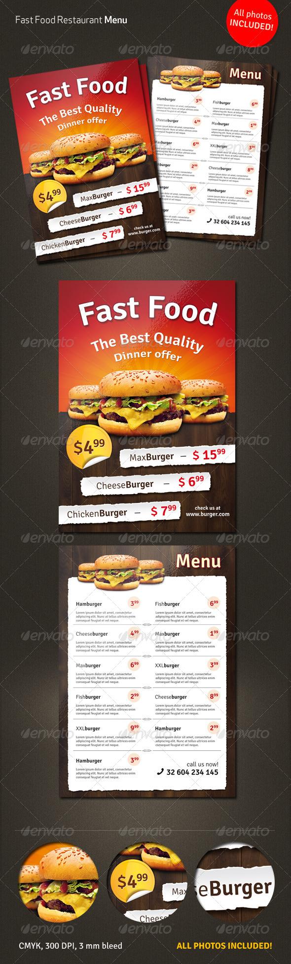 Fast Food Menu Flyer - Restaurant Flyers