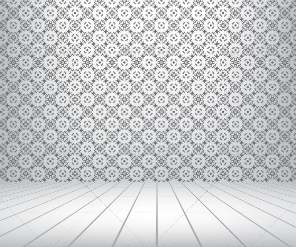 White Room with Pattern Wall and Wooden Floor - Buildings Objects