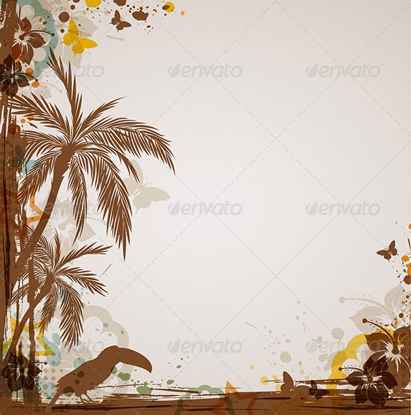 Grunge Tropical Background - Backgrounds Decorative