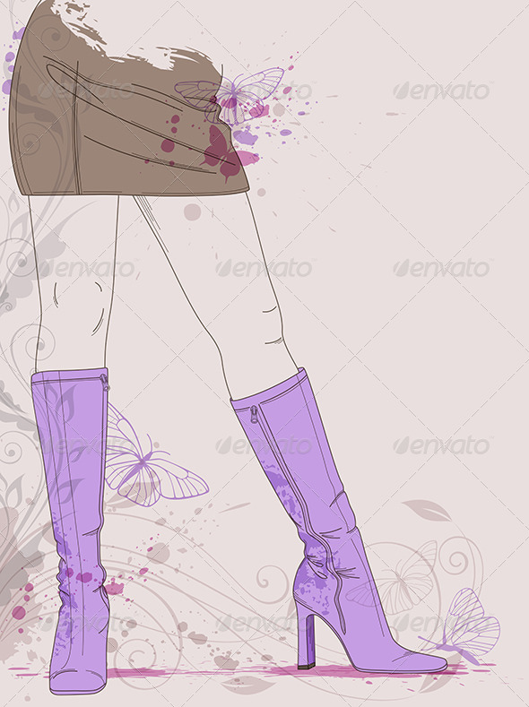 Female Legs in Violet  Boots - People Characters