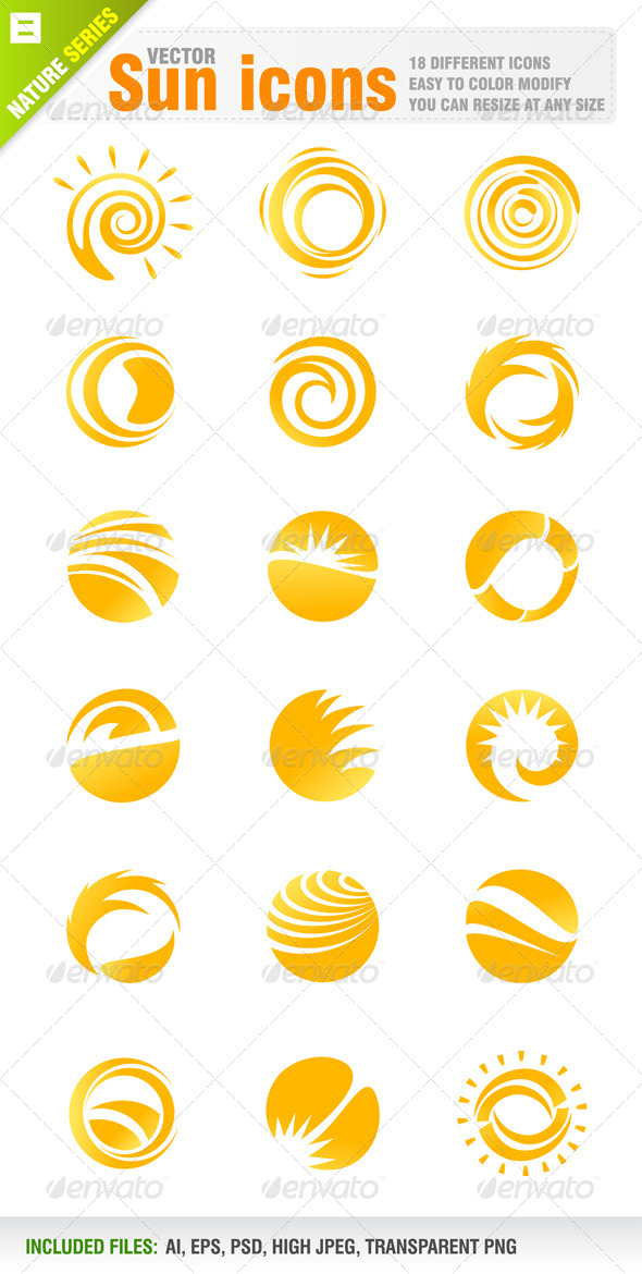 18 Sun Icons - Nature Conceptual