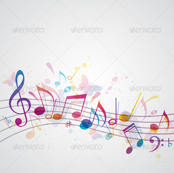 Music Background with Butterflies - Miscellaneous Vectors