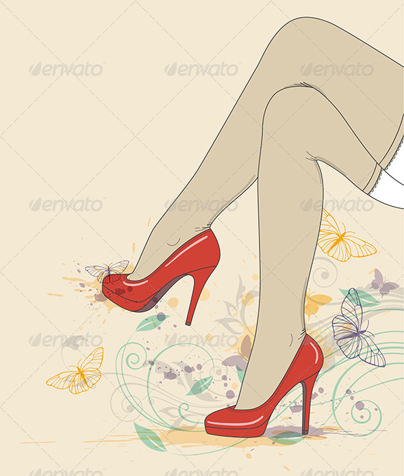 Legs in Red Shoes and Stockings - People Characters