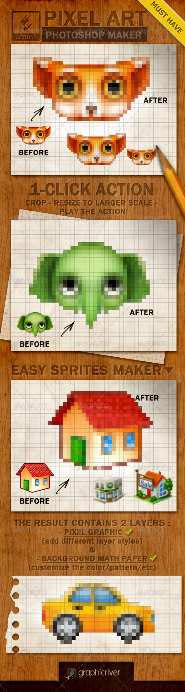 Pixel Art Creator Photoshop Action - Actions Photoshop