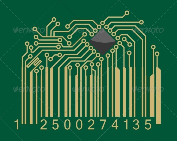 Bar code with computer motherboard elements - Retail Commercial / Shopping
