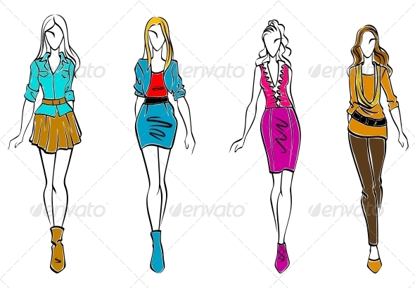 Fashion models in casual clothing - People Characters