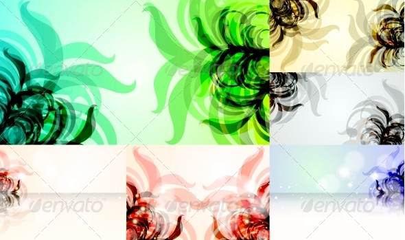 Set for Floral Vector Background - Flowers & Plants Nature