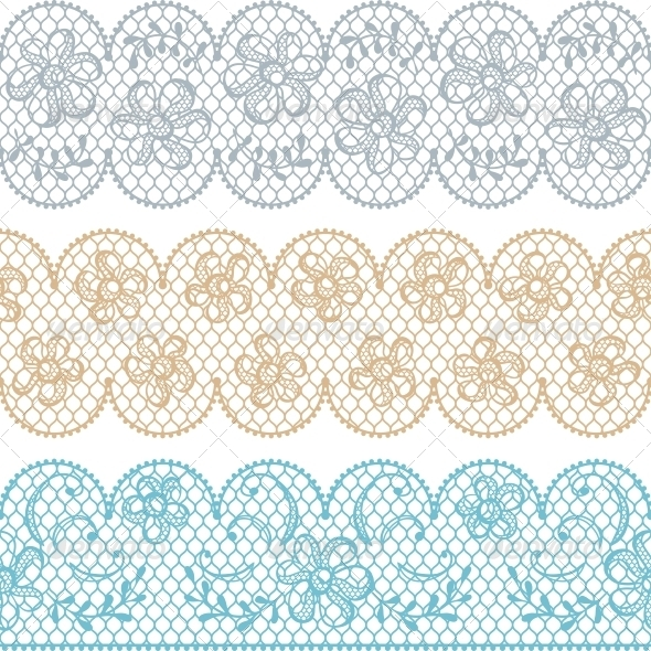 Lace Fabric Seamless Borders with Abstract Flowers. - Patterns Decorative