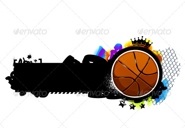 Graffiti Image with Basketball - Vectors