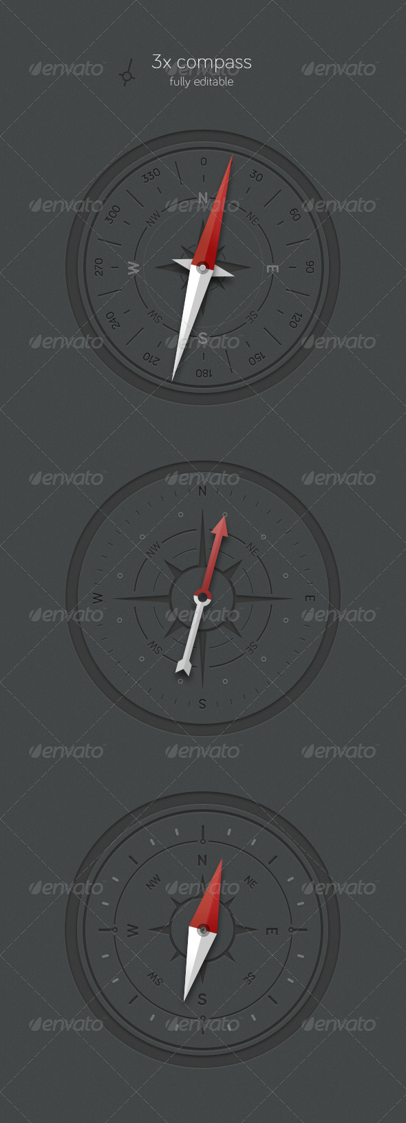 3x Compass - Miscellaneous Illustrations