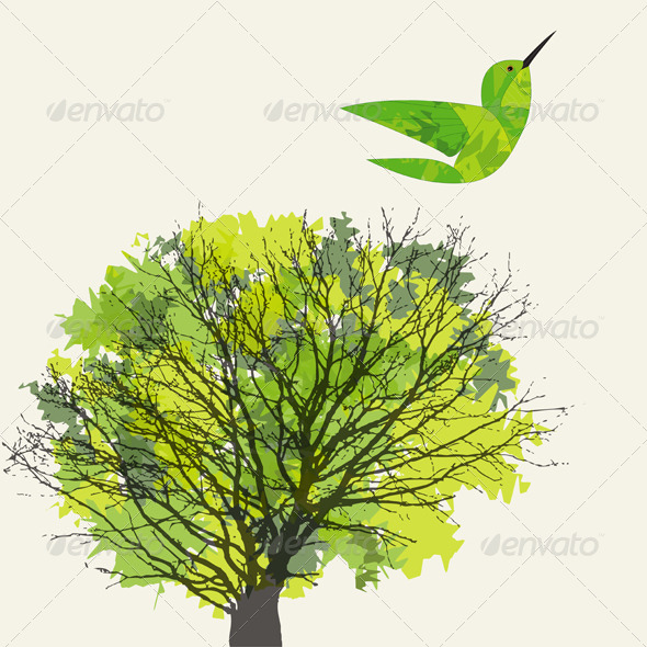 Tree and Hummingbird - Landscapes Nature