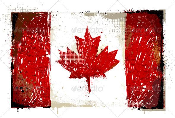 Grungy Canadian Flag - Vectors