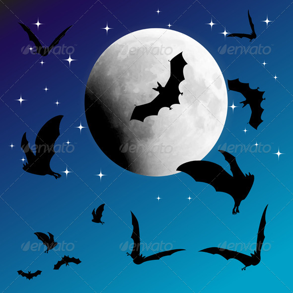 Sky Moon and Bats - Halloween Seasons/Holidays