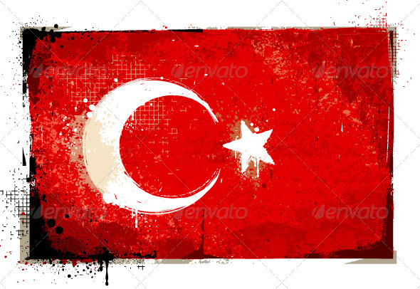 Grungy Turkey flag - Vectors