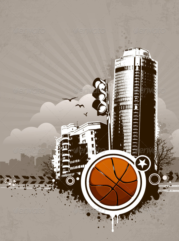 Grunge Urban Basketball Background - Vectors