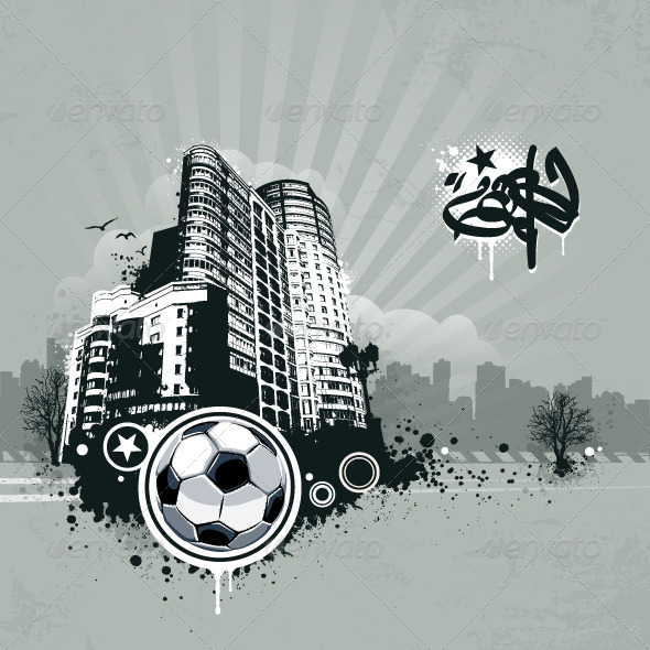 Grunge Urban Soccer Background - Vectors