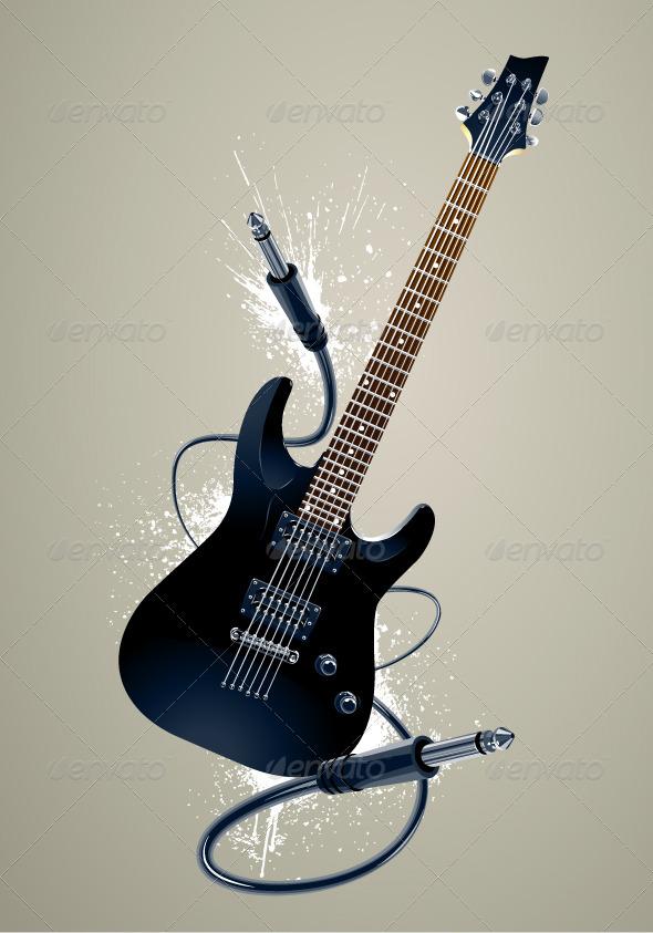 Black Guitar with Cables - Vectors