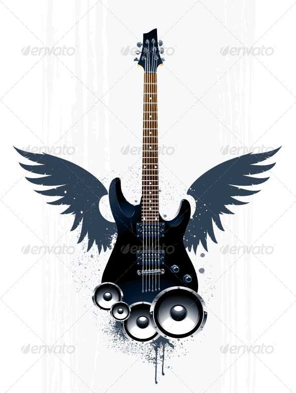 Black Guitar with Speakers - Vectors