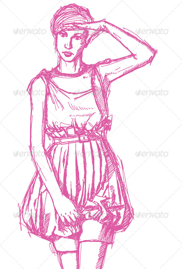 Sketch Woman with Hand near her Head - People Characters