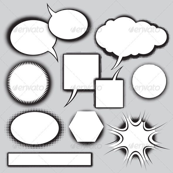 Vector Set of Comics Style Speech Bubbles - Decorative Vectors