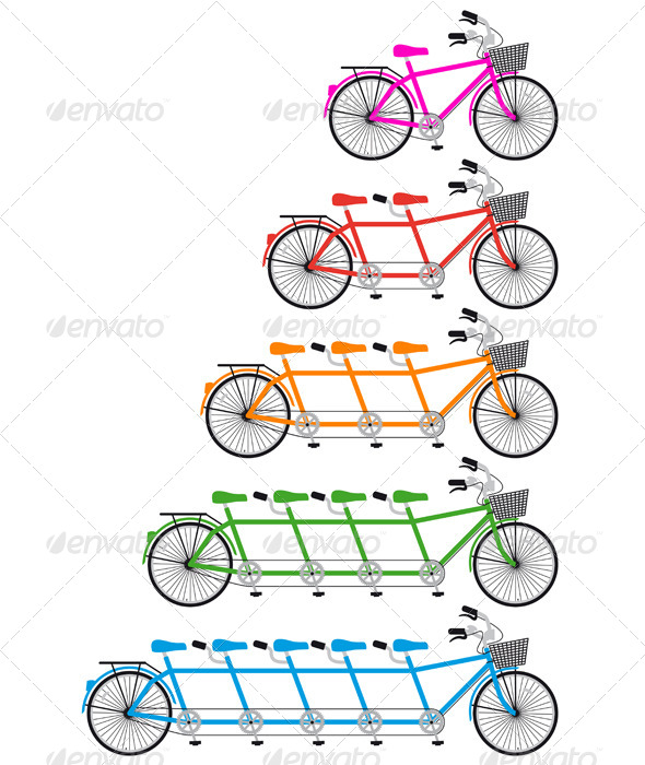 Tandem Bicycle, Team bike Set, Vector - Sports/Activity Conceptual