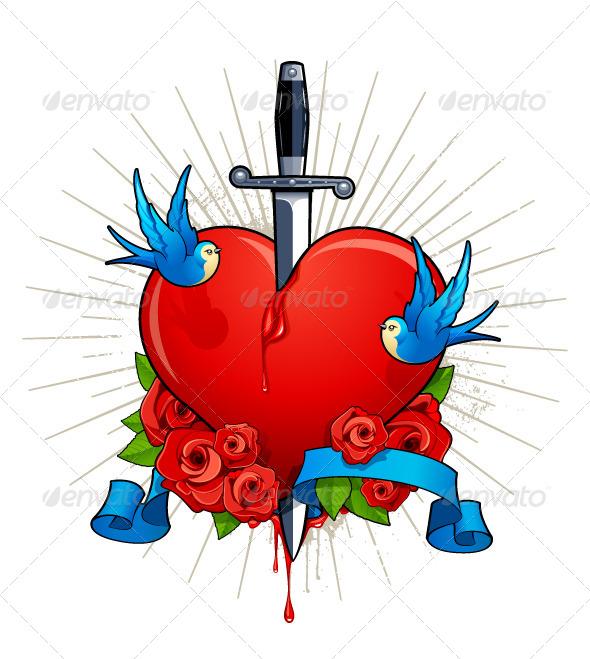 Vector Illustration of Heart with Birds - Vectors