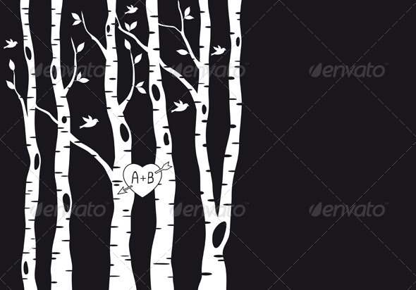Wedding Invitation with Birch Trees, Vector  - Weddings Seasons/Holidays