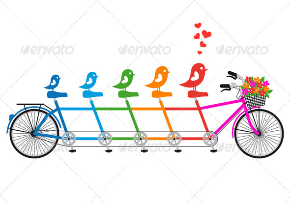 Tandem Bicycle With Birds Family, vector - Animals Characters