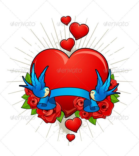 Vector Illustration of Hearts with Birds - Vectors
