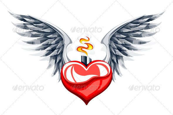 Glossy Heart with Wings - Vectors