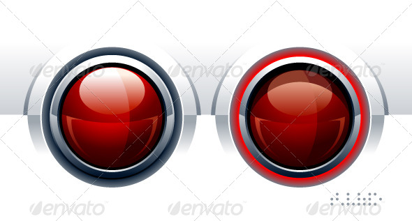 Two Red Glossy Buttons - Vectors