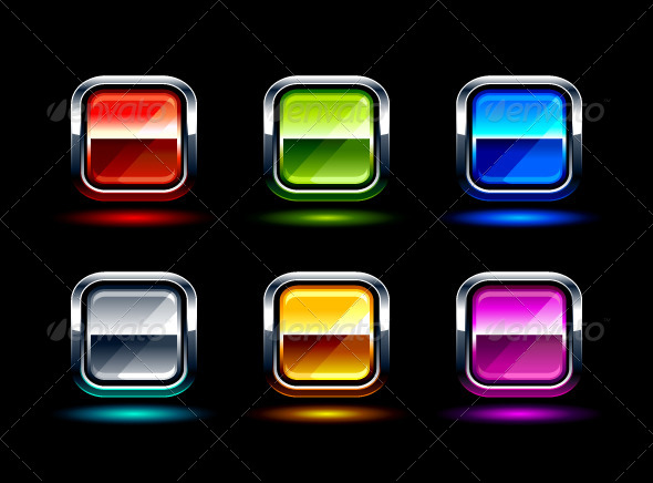 Set of Glossy Buttons - Vectors