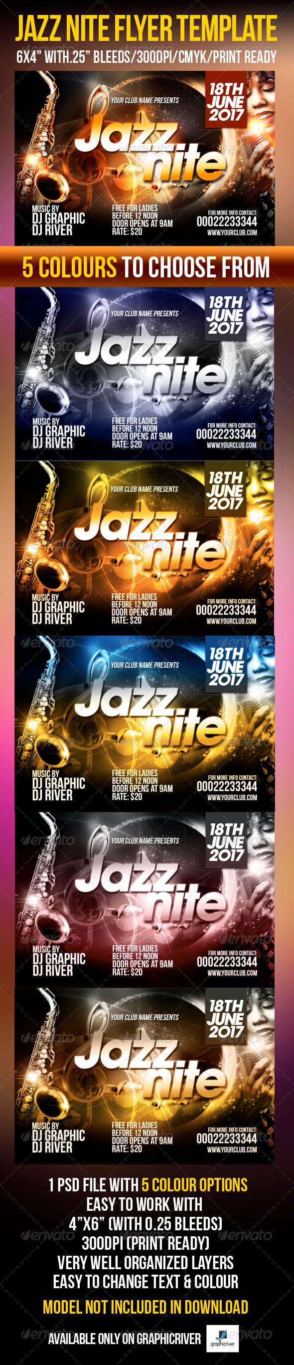 Jazz Nite Flyer Template  - Flyers Print Templates
