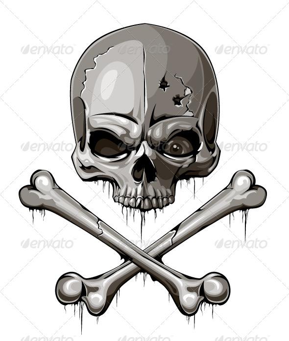 Decrepit Skull With Two Crossed Bones - Vectors