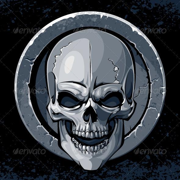 Skull in Stone - Vectors
