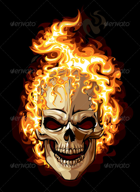 Burning Skull - Vectors