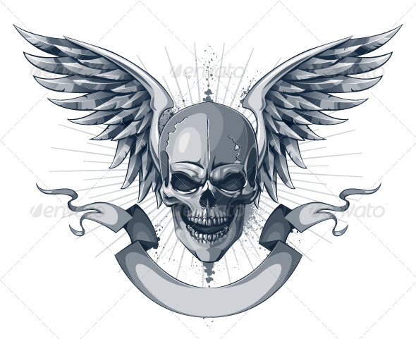 Skull with Wings and Ribbon - Vectors