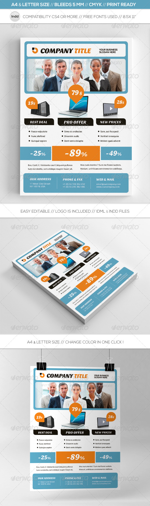 Modern Business Commerce Flyer Template A4-Letter - Commerce Flyers