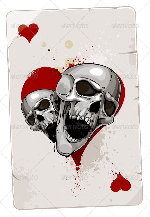 Poker Card with Skulls - Vectors