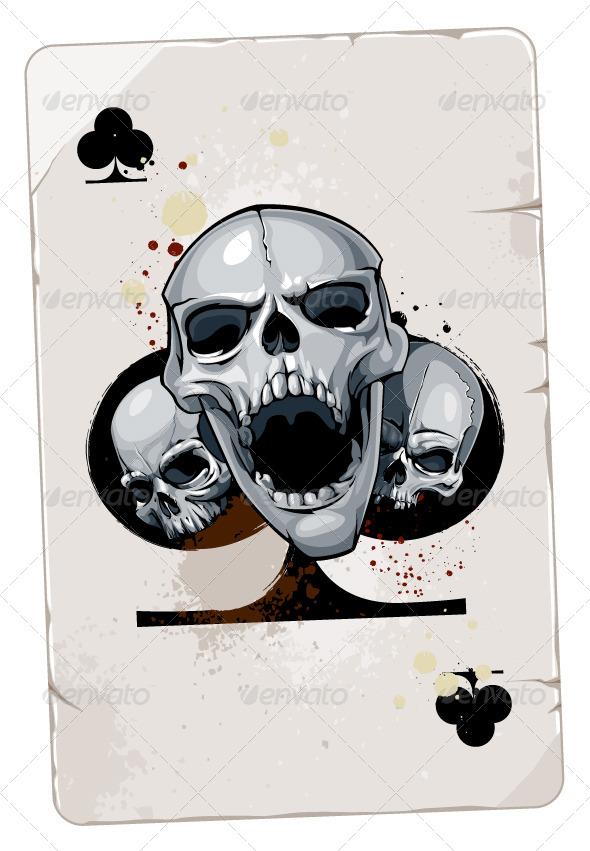 Poker Card with Skulls - Vectors